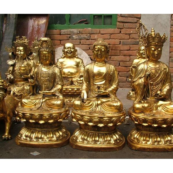 西方三圣制作-铜佛像雕塑-文禄