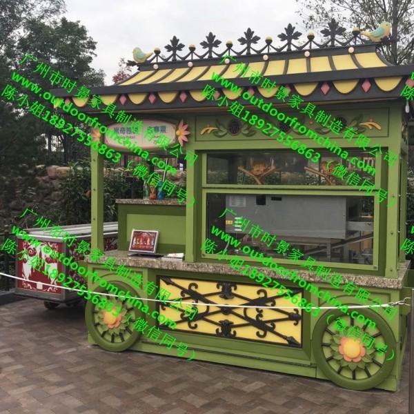 夜市美食小吃售货亭美食街移动式餐车公园防腐木售货车厂家直销