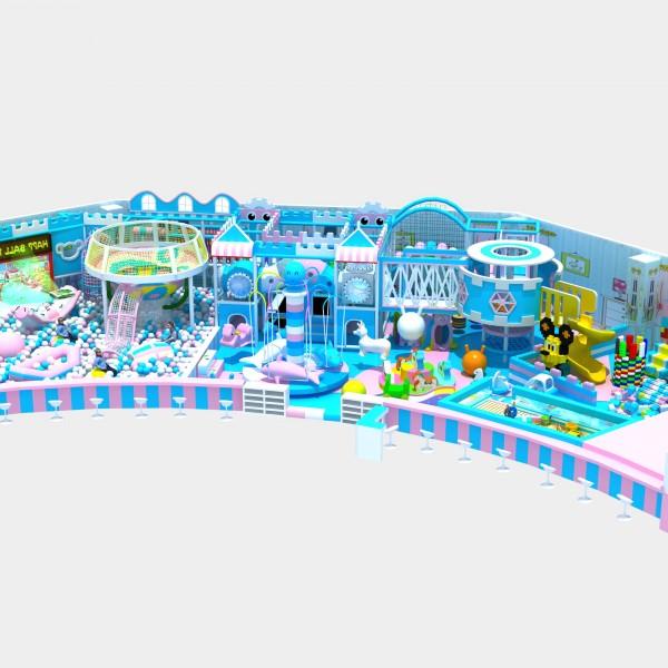 马卡龙系列海洋系列?#20113;?#22561;主题乐园 绳网攀爬 定制滑梯