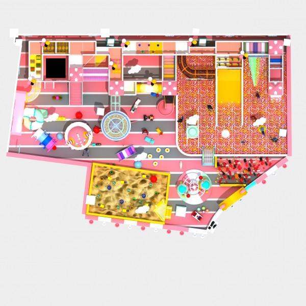 马卡龙粉色主题?#20113;?#22561;乐园 高端定制 免费设计  大滑梯球池
