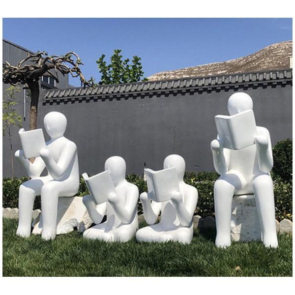 苏州校园人物读书雕塑 玻璃钢抽象人物摆件