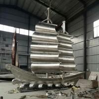 荆州塑景制作不锈钢帆船雕塑 海景场地船模型图