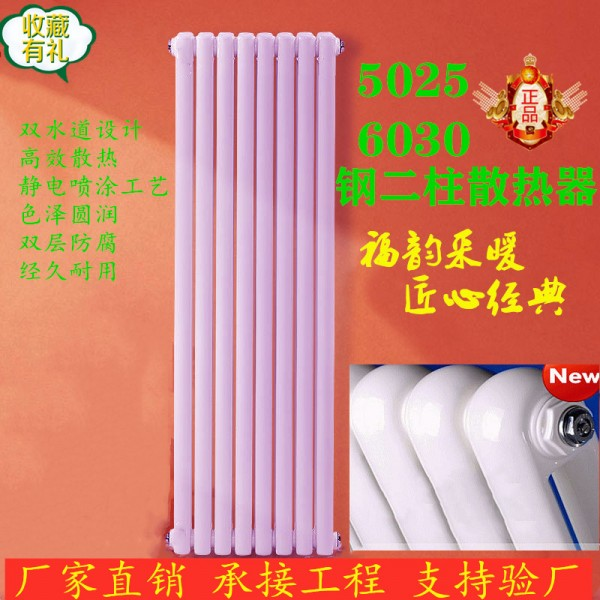 供應5025鋼二柱暖氣片散熱器 橢圓管鋼柱散熱器